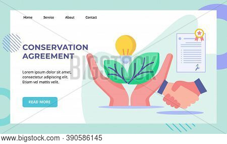 Conservation Agreement Hand Hold Green Leaf Bulb Lamp Hand Shake Leteer Agreement Campaign For Web W