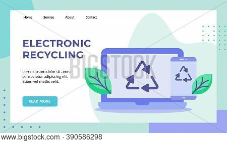 Electronic Recycling Green Leaf Recycle Icon On Display Laptop Smartphone Screen Campaign For Web We