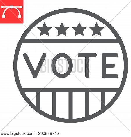 Vote Badge Line Icon, Election And Democratic, Vote Button Sign Vector Graphics, Editable Stroke Lin