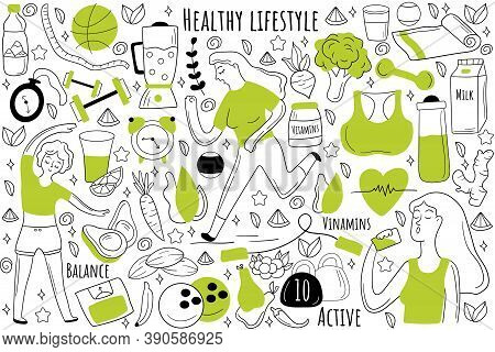 Healthy Lifestyle Doodle Set. Collection Of Hand Drawn Sketches Patterns Templates Of People Jogging