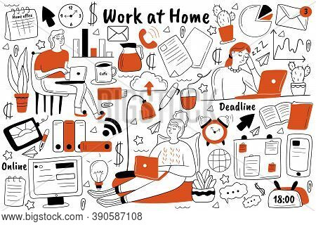 Work At Home Doodle Set. Collection Of Hand Drawn Sketches Templates Patterns Of People Freelancers