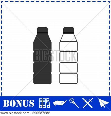 Plastic Bottle Icon Flat. Simple Vector Symbol And Bonus Icon