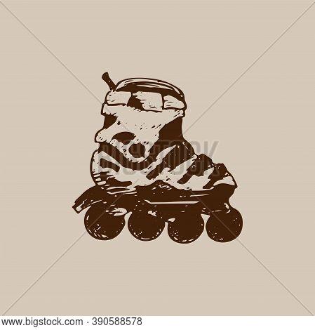 Roller Skate. Hand-drawn Vector Sketch Illustration Isolated On Beige Background
