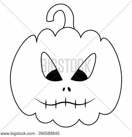Pumpkin. Sketch. The Mouth Is Sewn Up. Ominous Grimace. Vector Illustration. Coloring Book For Child