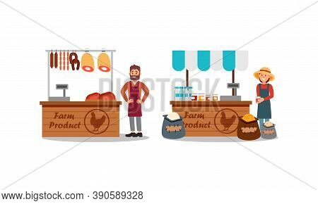 Man And Woman Vendor In Aprons Standing At Street Booth Or Stall With Meat And Cereals Vector Illust