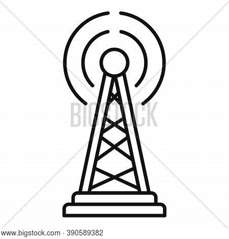 Tower Tv Fake News Icon. Outline Tower Tv Fake News Vector Icon For Web Design Isolated On White Bac