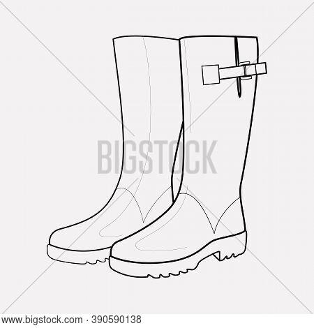 Wellington Boots Icon Line Element. Illustration Of Wellington Boots Icon Line Isolated On Clean Bac