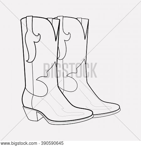 Cowboy Boots Icon Line Element. Illustration Of Cowboy Boots Icon Line Isolated On Clean Background