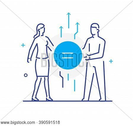 Equality Between Man And Woman. Linear Illustration Icons Infographics. Landing Page Site Print Post