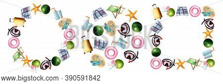 Realistic Summer Symbols Set. Collection Of Realism Style Drawn Travel Suitcases Starfish Scuba Divi