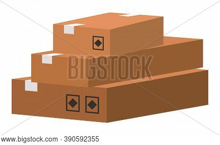 Carton Square Box, Delivery And Packaging Of Goods For Comfortable Transportation. Shipping Cardboar