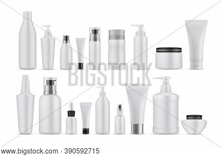 Realsitic Cosmetic Lotions Set. Collection Of Realism Style Drawn Plastic Bottles For Beauty And Ski