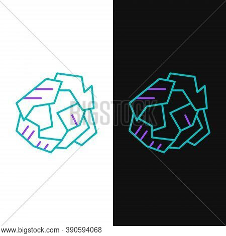 Line Crumpled Paper Ball Icon Isolated On White And Black Background. Colorful Outline Concept. Vect