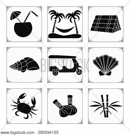 Thailand Symbols Set Vector Illustration Cocktail, Palm Trees And Hammock, Pillow, Seashell, Tuk-tuk