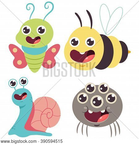 Cute Bug Vector Cartoon Set. Funny Bumblebee, Snail, Butterfly And Spider Isolated On A White Backgr