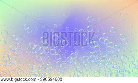 Detergent Foam. Soap Bath Bubble And Suds For Bathtub. Shampoo. 3d Vector Illustration Design. Multi
