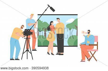 Movie Production Concept. Film Making Romantic Scene