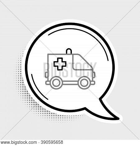 Line Ambulance And Emergency Car Icon Isolated On Grey Background. Ambulance Vehicle Medical Evacuat