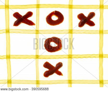 Pasta Tic Tac Toe Game On The White Background.