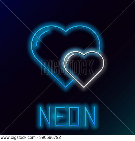 Glowing Neon Line Heart Icon Isolated On Black Background. Romantic Symbol Linked, Join, Passion And