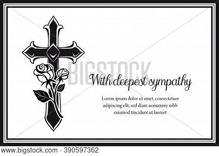 Funeral Card With Gothic Medieval Cross And Roses. Funerary Condolence Banner, Obituary Memorial Vec