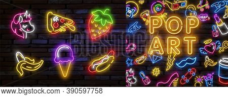 Neon Patch Badges With Lips, Hearts, Speech Bubbles, Stars And Other Elements. Vector Illustration P