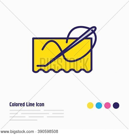 Vector Illustration Of Stitching Icon Colored Line. Beautiful Lifestyle Element Also Can Be Used As