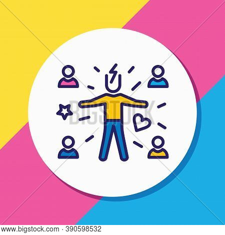 Vector Illustration Of Attract People Icon Colored Line. Beautiful Emoji Element Also Can Be Used As