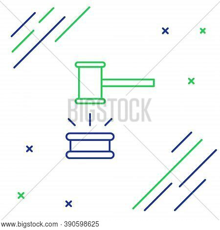 Line Judge Gavel Icon Isolated On White Background. Gavel For Adjudication Of Sentences And Bills, C