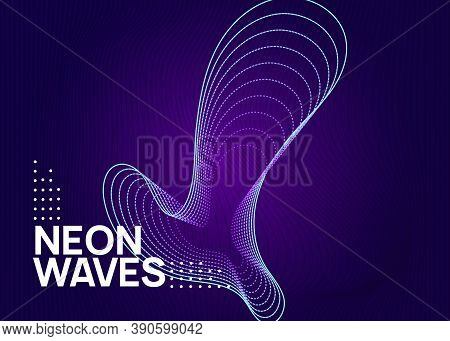 Electro Event. Dynamic Fluid Shape And Line. Creative Show Magazine Concept. Electro Event Neon Flye
