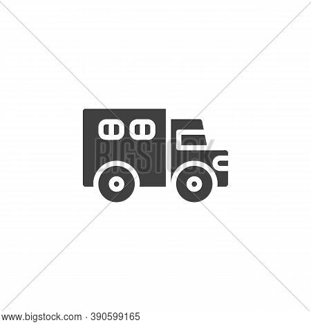 Police Truck Vector Icon. Filled Flat Sign For Mobile Concept And Web Design. Paddy Wagon Glyph Icon