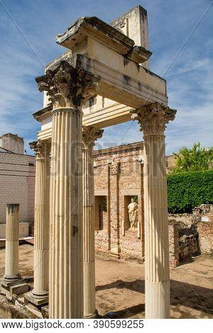 Portico Del Foro Municipal De Augusta Emerita. Roman Forum Ruins In Merida, Extremadura, Spain.