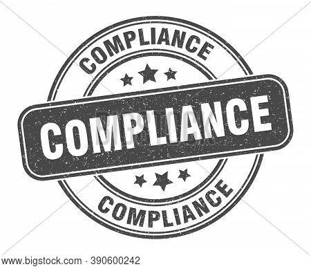 Compliance Stamp. Compliance Label. Round Grunge Sign