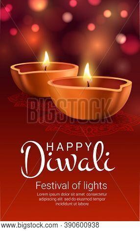 Diwali Diya Lamps Of Indian Light Festival Vector Banner. Burning Oil Lamps Of Hindu Religion Deepav