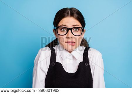 Close-up Portrait Of Her She Nice Attractive Lovely Pretty Brainy Unsure Scared Brunette Schoolgirl