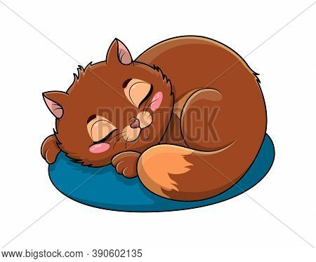 Adorable Little Brown Cartoon Cat Asleep On A Cushion Or Kitty Bed With Serene Expression Isolated O