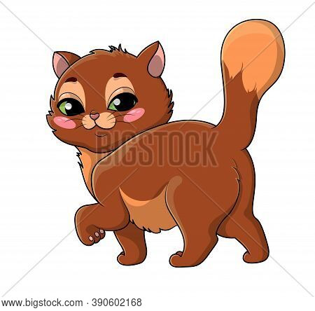 Proud Little Green-eyed Cartoon Cat Prancing Along With Its Tail Raised Glancing Back At The Viewer
