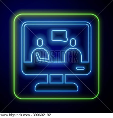 Glowing Neon Online Education And Graduation Icon Isolated On Blue Background. Online Teacher On Mon