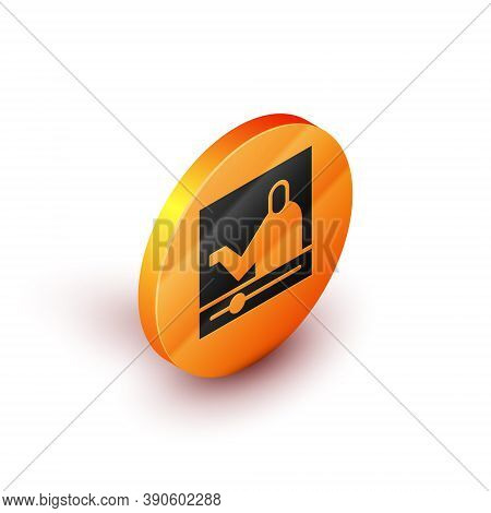 Isometric Online Education And Graduation Icon Isolated On White Background. Online Teacher On Monit