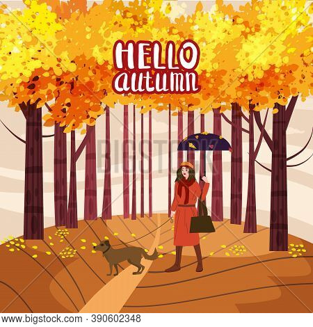 Hello Autumn Lettering Park Young Woman Walks With Dog, Yellow Orange Red Foliage Trees, Walkway Ben
