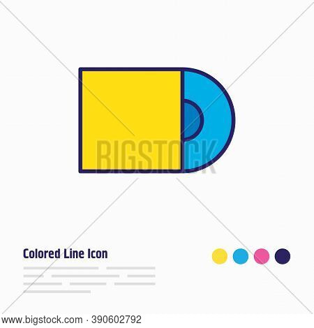 Illustration Of Cd-rom Icon Colored Line. Beautiful Accessory Element Also Can Be Used As Compact Di