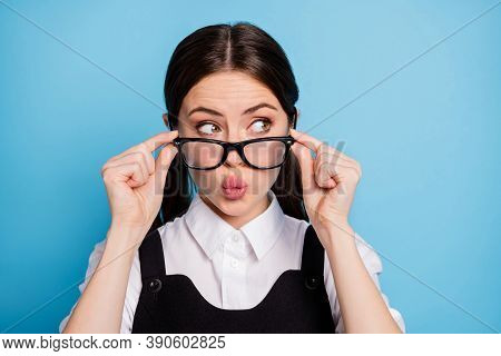 Close-up Portrait Of Her She Nice Attractive Pretty Lovely Brainy Schoolgirl Nerd Geek Touching Spec