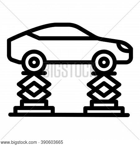 Car On Lift Icon. Outline Car On Lift Vector Icon For Web Design Isolated On White Background