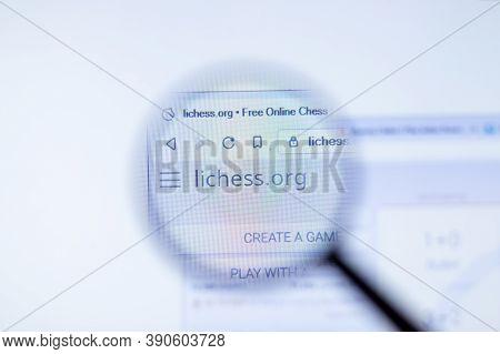 New York, Usa - 29 September 2020: Lichess.org Lichess Company Website With Logo Close Up, Illustrat