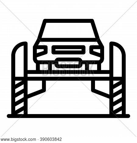 Car Repair Lift Icon. Outline Car Repair Lift Vector Icon For Web Design Isolated On White Backgroun