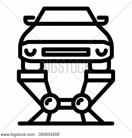 Hydraulic Car Lift Icon. Outline Hydraulic Car Lift Vector Icon For Web Design Isolated On White Bac