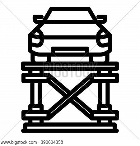 Car Lift Device Icon. Outline Car Lift Device Vector Icon For Web Design Isolated On White Backgroun