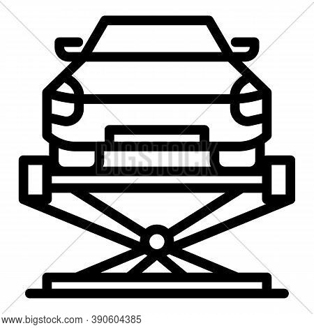 Car Lift Fixed Icon. Outline Car Lift Fixed Vector Icon For Web Design Isolated On White Background
