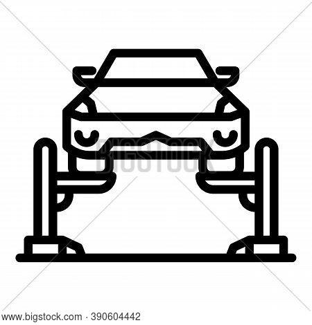 Mechanic Car Lift Icon. Outline Mechanic Car Lift Vector Icon For Web Design Isolated On White Backg