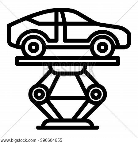 Maintenance Car Lift Icon. Outline Maintenance Car Lift Vector Icon For Web Design Isolated On White